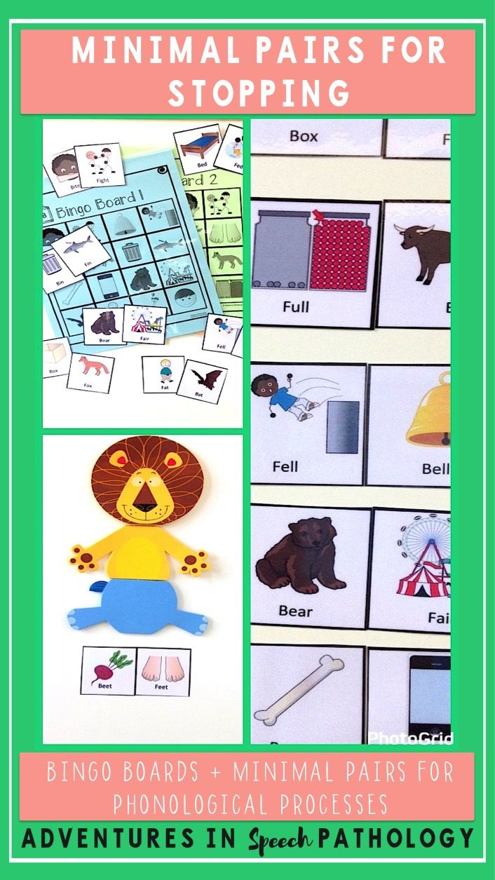 Minimal Pairs offer so much flexibility and creativity. This set for the phonological process of stopping covers TONS of sounds (f-b, f-p, s-d, sh-d, v-b, ch-t, j-d) with Bingo Boards and 12 sets of Minimal Pairs.
