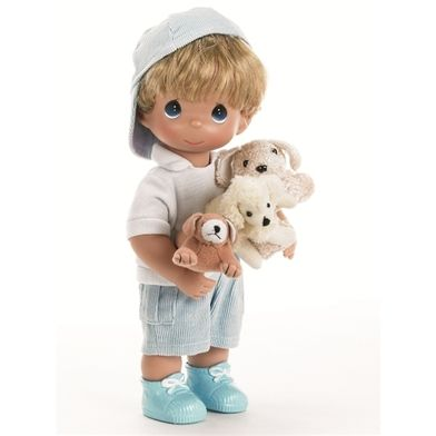 Boy with Plush Puppies - 12in Precious Moments Doll, 4652