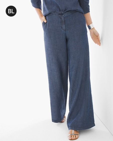 Black Label Wide-Leg Denim Pants