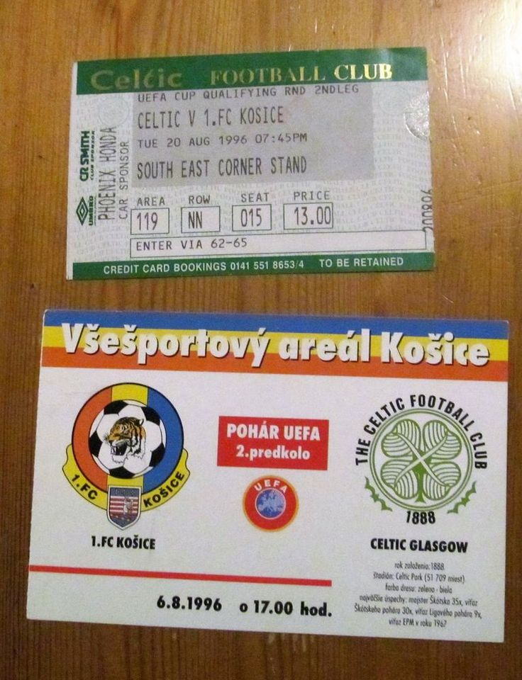 1  FC KOSICE  V GLASGOW CELTIC FC UEFA CUP 1996  HOME AND AWAY TICKETS MINT | eBay