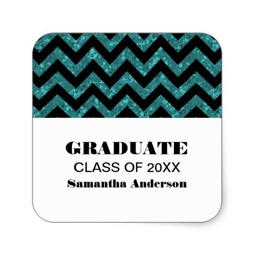 Turquoise Chevron Glitter Graduation Stickers