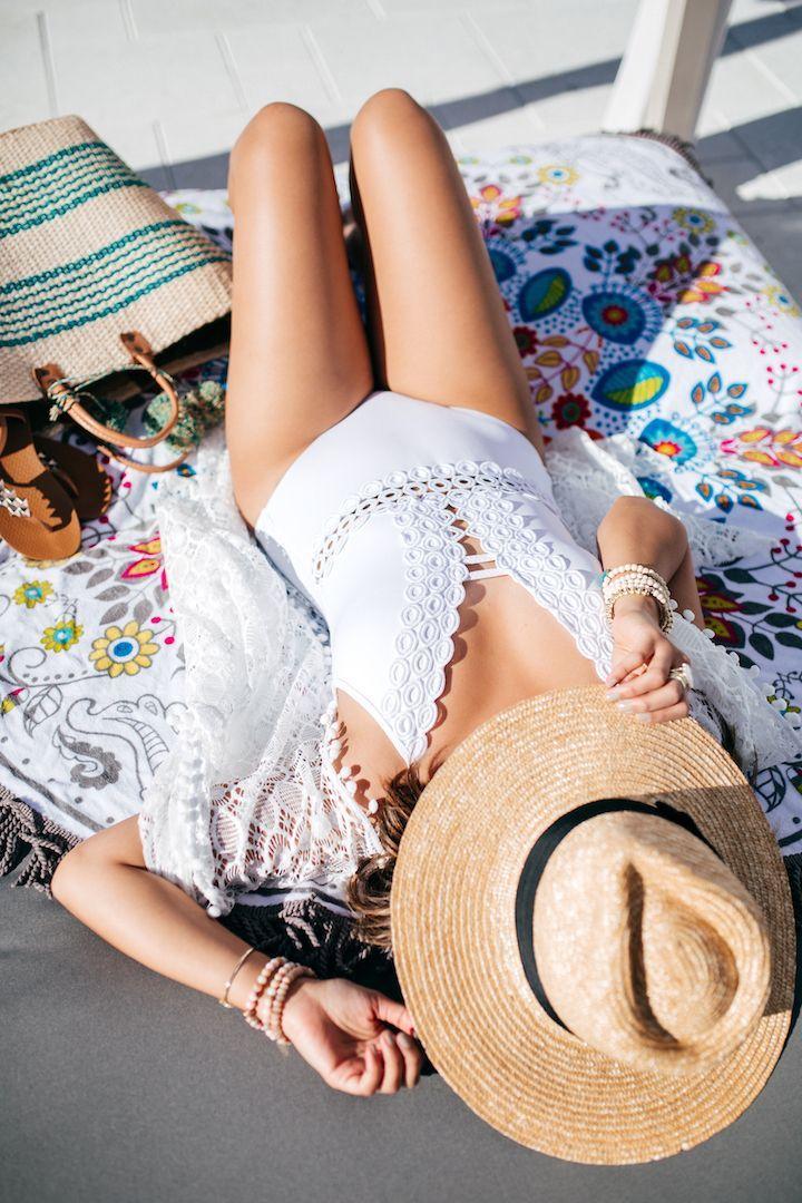 haute off the rack, Louisiana blogger, white swimsuit, Nordstrom swimwear, women's swimwear, Becca Swimsuits, women's fashion, summer style, Becca Swim collection, wavy beach hair, white one-piece swimsuit, the best one-piece swimsuit for summer, straw hat, straw clutch,