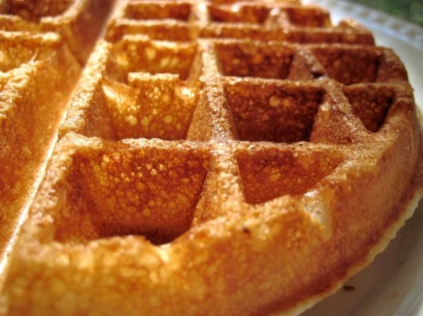 Crispy Buttermilk Waffles from Food.com:   								These waffles are AMAZING!  They are so crispy, you won't believe it.  TIP:  Cool leftovers, and freeze.  To reheat, put waffles directly on oven rack at 350 degrees F., and bake for 5-7 minutes.