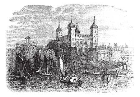 Torre de Londres o de Su Majestad el Palacio Real y la fortaleza en Londres, Inglaterra, durante la d�cada de 1890, el grabado de la vendimia. Ilustraci�n del Antiguo grabado de la Torre de Londres con el movimiento de buques en el frente. photo