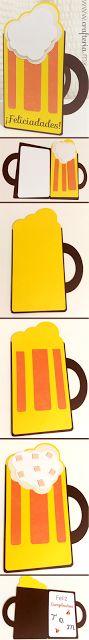 Tarjeta en forma de tarro de cerveza - ideal para hombres