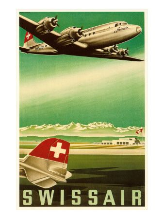 Vintage Travel Poster - Swiss Air