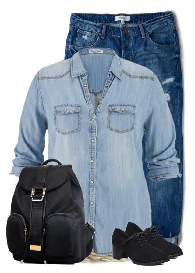"""""""Black Lucluc backpack"""" by budding-designer ❤ liked on Polyvore featuring moda, MANGO y maurices"""