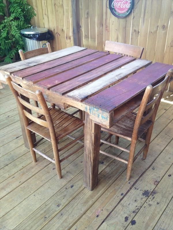 Pallets » Outdoor Pallet Dining Table