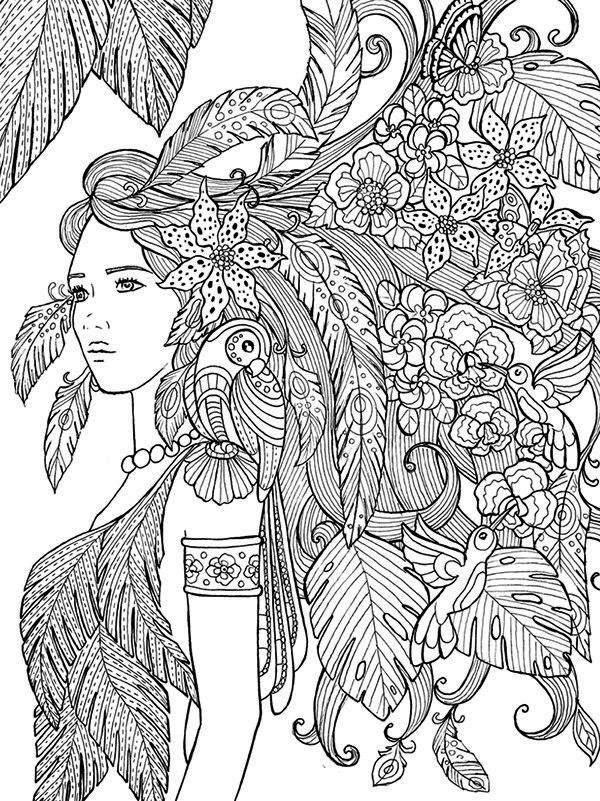 829 best coloring pages images on pinterest coloring Nature coloring books for adults
