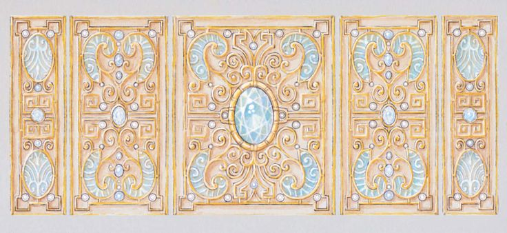 Juliette Arda, gouache for a gold, aquamarine and enamel cuff