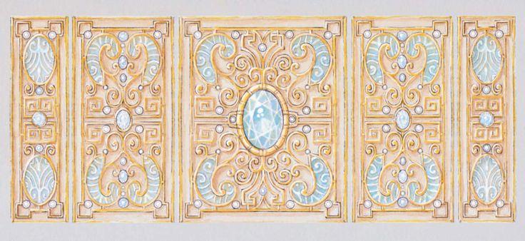 Juliette Arda, gouache for a gold, aquamarine and enamel cuff