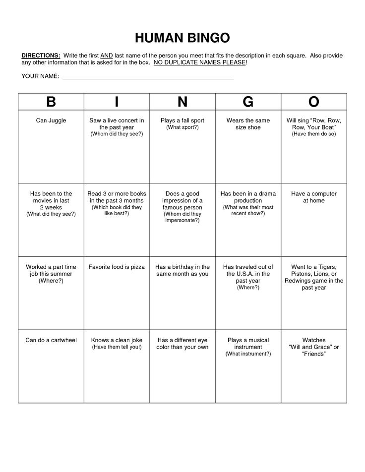 Human bingo questions for teens pictures to pin on for Ice breaker bingo template
