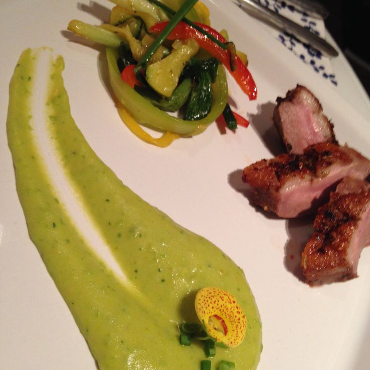 Duck with green puree