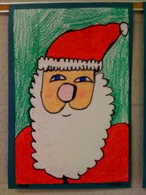 I taught the 1st graders about portraits, and then we drew our Santa. I got this easy step-by-step way to draw the jolly-ole-man from my fri...