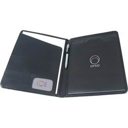 Leather look & feel with business card, note holder & memo pad.