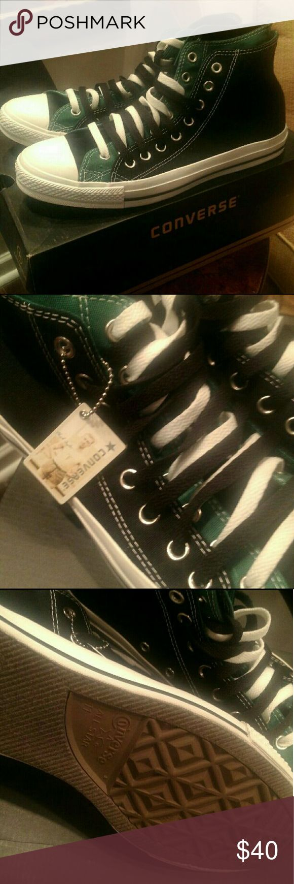 NEW men's CONVERSE  black and green two fold high Brand new with box, cool two color design. Converse Shoes Sneakers