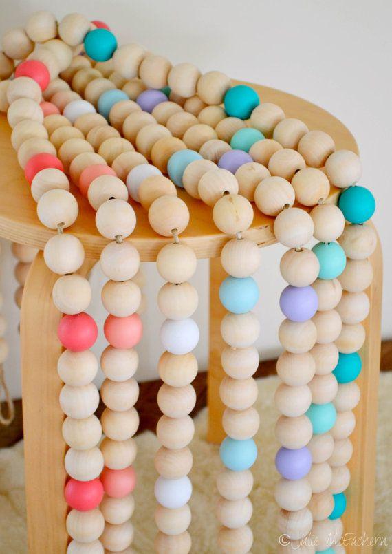 Wood Bead Garland Baby Shower Gift Clothes Line Home Decor Beach Scandinavian 25mm Beads 1 metre long Eco-Friendly Natural Timber