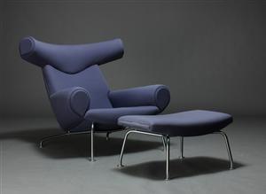 H. J. Wegner. Ox-chair. Hvilestol samt skammel