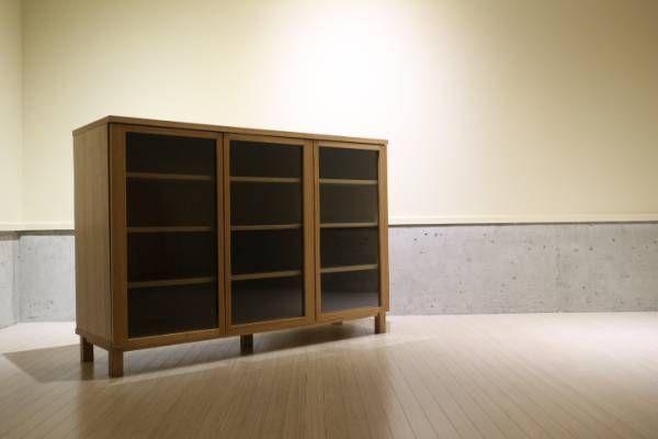 無印良品 木製キャビネット 大 タモ材 ナチュラル 食器棚/ウニコ