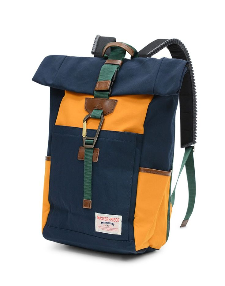 Master-Piece Link Roll Top Backpack Navy & Yellow