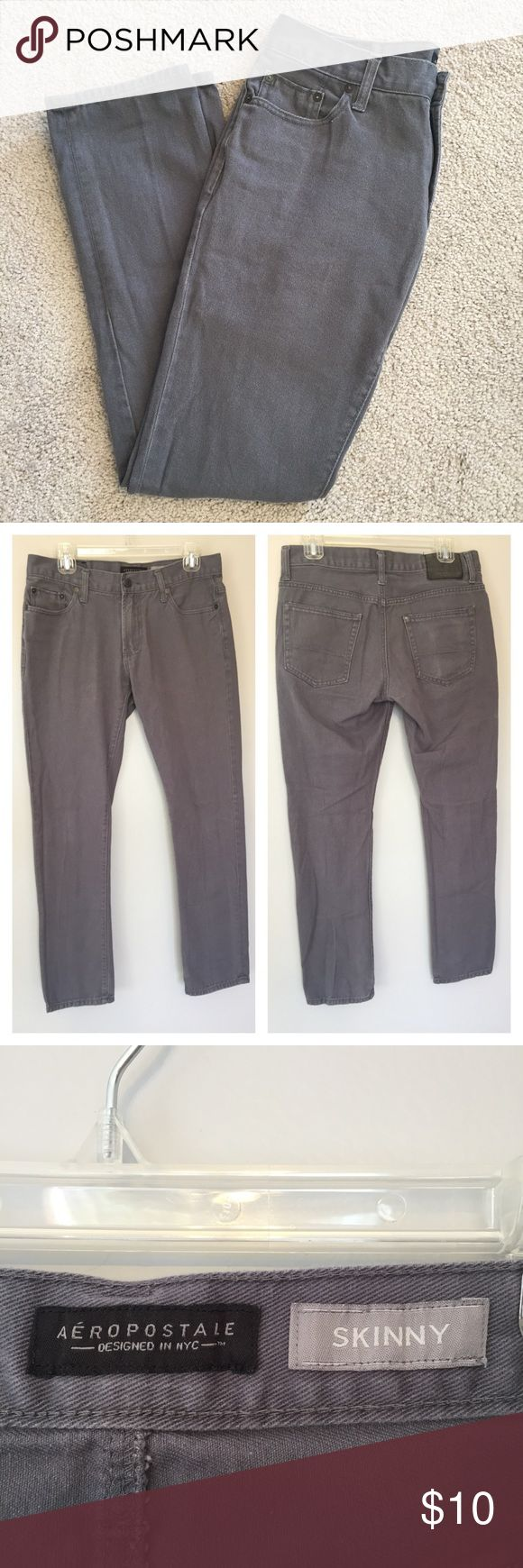 """Aeropostale Grey Skinny Jeans Good Condition Denim Jeans. Aeropostale patch on back is a little worn. No rips, stains, or tears. Size 30/32. Laying flat measurements: waist: 16"""", inseam: 30"""" Aeropostale Jeans Skinny"""