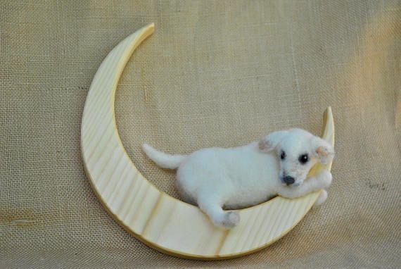 Dog mobile Room Decoration needle felted  : White dog on the