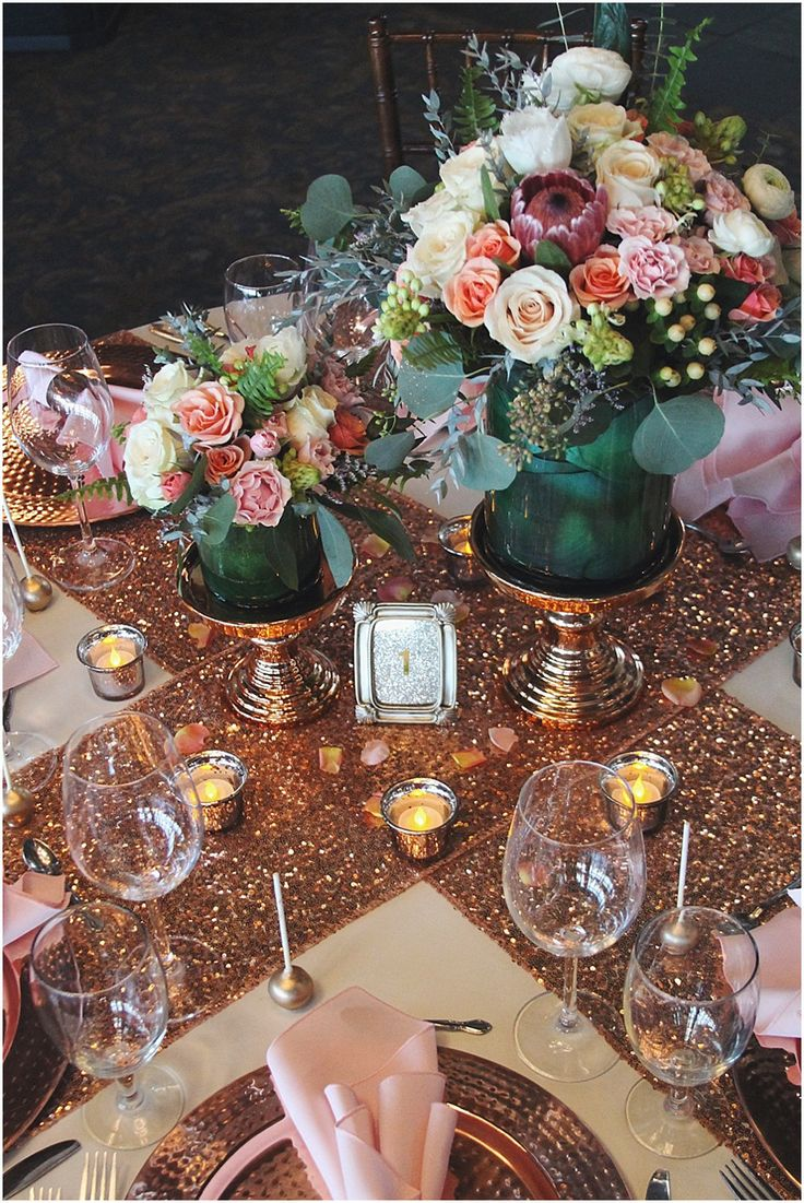 little miss lovely floral design // rose gold, peach, pink & teal wedding centerpieces @asappington @lighthousesound @misslovely