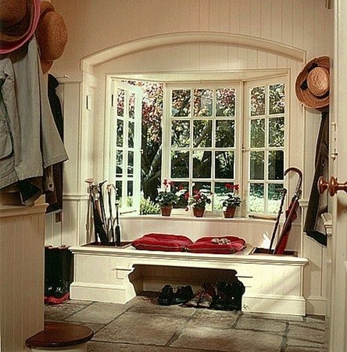 311 best mudroom images on pinterest entrance hall for Arched bay windows