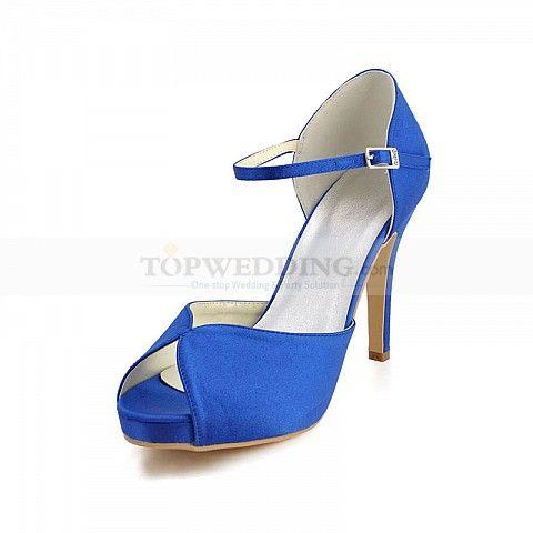 Μπλε Σατέν Ανοικτή Μύτη Γόβες Νυφικά παπούτσια hx130006