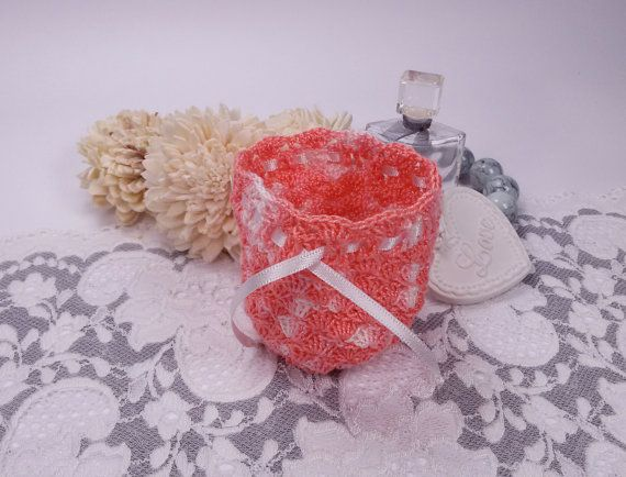 Peach crochet gift bag crochet jewelry pouch by Rocreanique