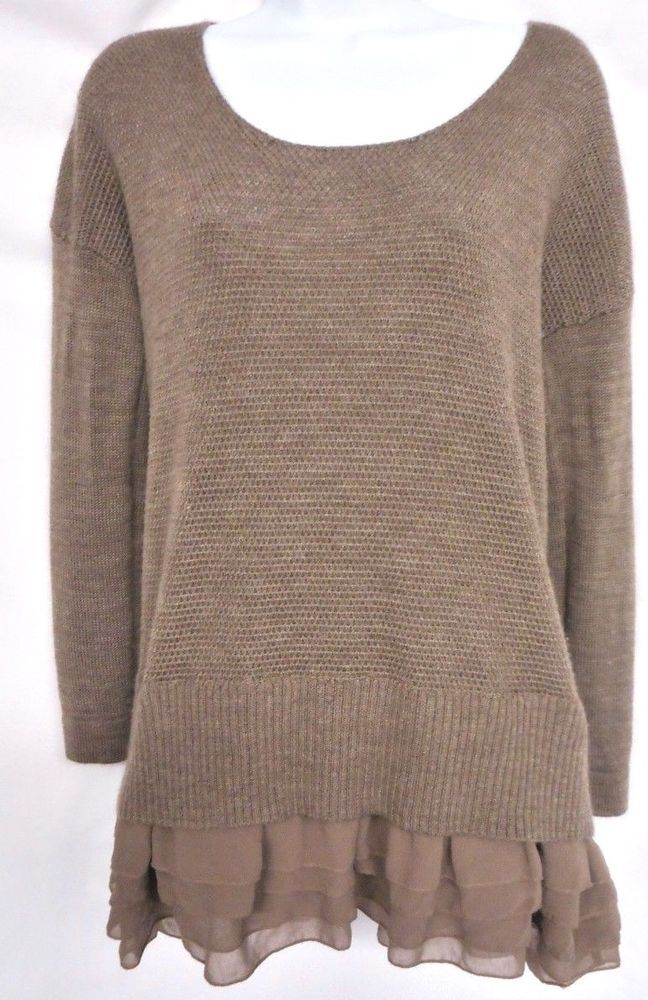 bb007d95accbcc Soft surroundings s taupe brown ruffle hem sweater top blouse shirt tunic-156