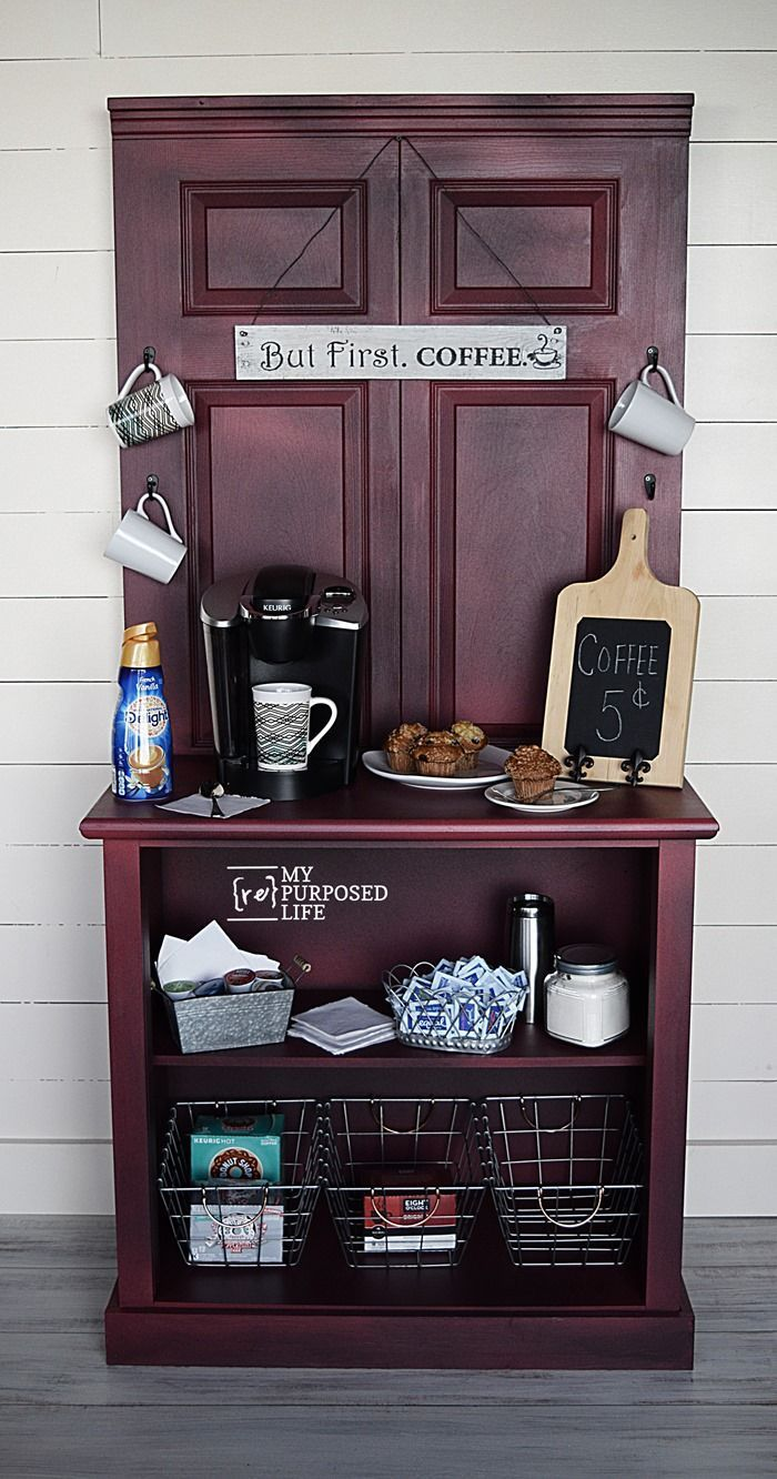 How to make a coffee station cabinet using a door and a dresser. Step by step tutorial will give you tips and ideas to make your own coffee station project. MyRepurposedLife.com