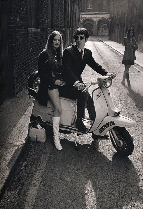 Sixties chic ...mod, hush puppies, mini-skirt, white boots, Lambretta SX 200