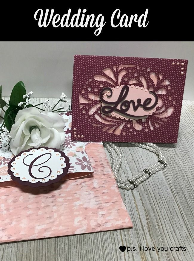 Make a stunning Cricut Wedding Invitation or Card using the Cricut Explore or the Cricut Maker and the Simple Everyday Cards Cricut Cartridge. I added other elements to make this elegant wedding card. #handmadecards #handmadecard #cricutcard #weddingcard