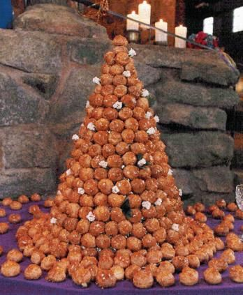 Croquembouche: Traditional French wedding cake with cream-filled puffs and held together with caramelized sugar