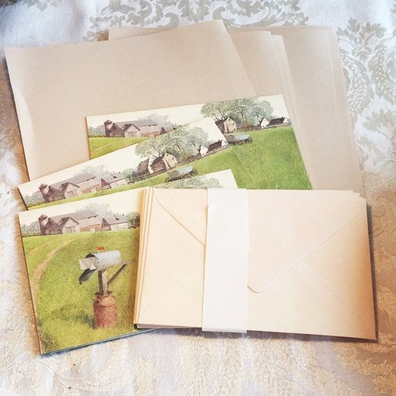 Hallmark Stationery Set / Vintage Writing Paper Cards and Envelopes by vintagepoetic on Etsy