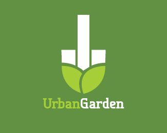 Urban Garden Logo design - Any city gardening services company.City council. Environmental initiative.The idea is the city buildings and the green hills or leaves make a shovel or spade shape. Price $495.00