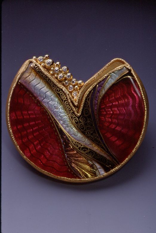 """This brooch was created by Marilyn Druin (1941-2001) in 2000. """"Some artists are social commentators. They interpret and comment upon life.... I try to take some of earth's essential elements and create my own world with order and harmony where my mind can be at peace."""" - Marilyn Druin, 1999"""
