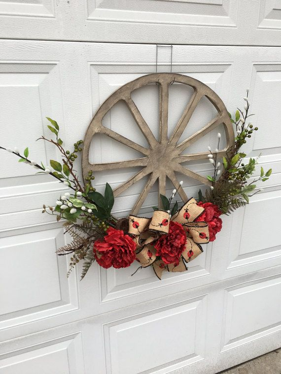 Easter Wreath: Wagon Wheel Wreath Primitive Rustic Every Day Summer By