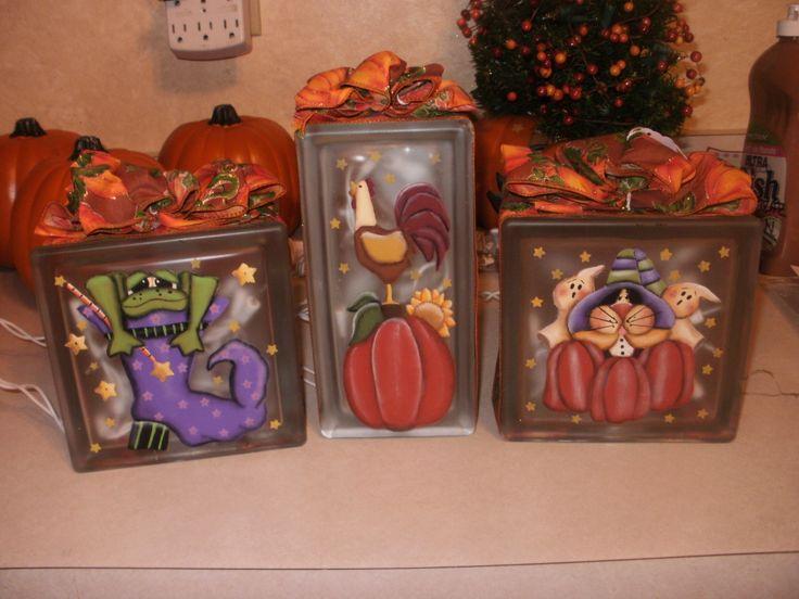 Halloween blocks painted by Patti Hanley Eder designer Renee Mullins