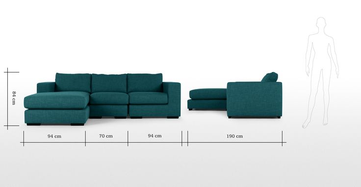 Mortimer 4 Seater Modular Corner Sofa, Shadow Teal | made.com