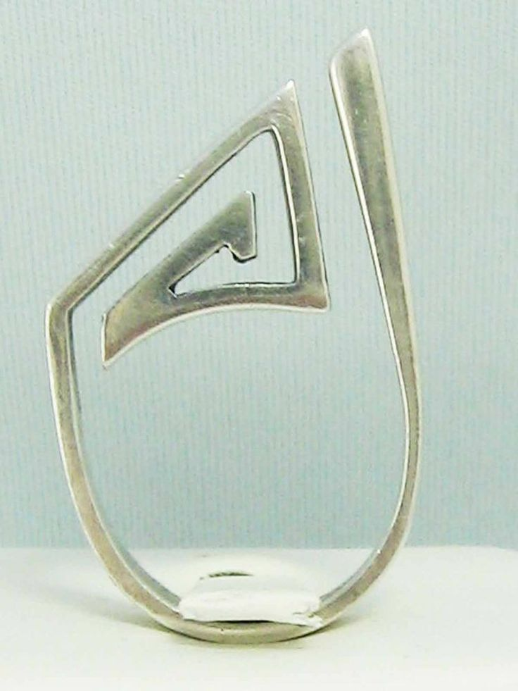 RUNWAY Punk CHIC! Vintage Sterling Silver High Set MODERNIST Ring GEOMETRIC 925