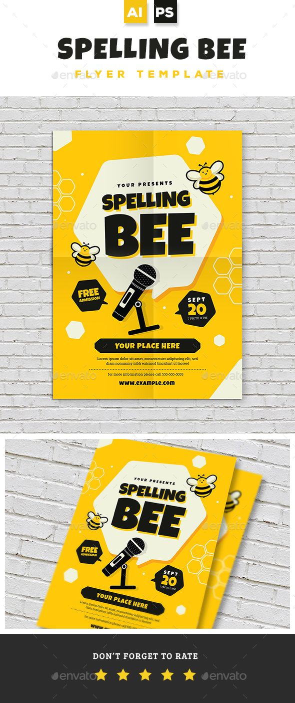 Spelling Bee Contest Flyer Template Psd Ai Illustrator Flyer