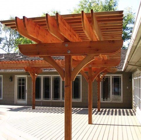 Single post pergola patio pinterest posts trellis for 3 post pergola plans