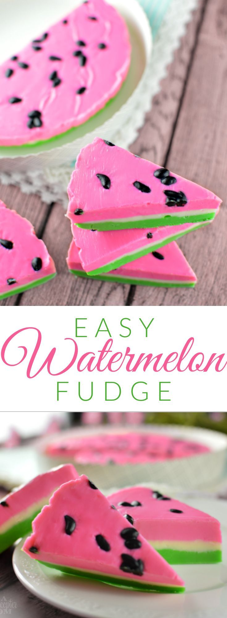Easy Watermelon Fudge - Super simple to make, tastes amazing and is SO cute! Perfect for summer parties and cookouts!