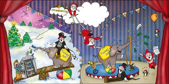 Weihnachtskarten 2016 für Firmen - Scheckkartenkalender - Artikel 35009 - Steuer-Zirkus 2017