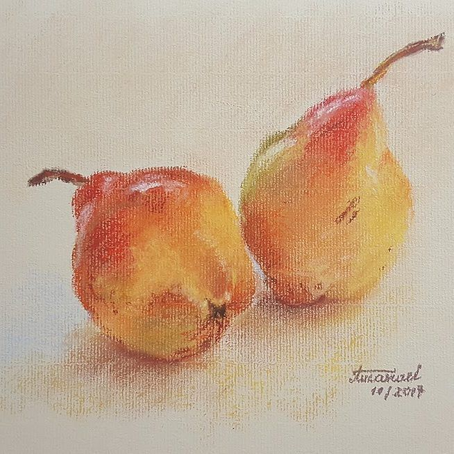 """Polubienia: 29, komentarze: 1 – Amaviael (@amaviael) na Instagramie: """"Pears. Rembrandt soft pastels on Ingres Fabriano paper. I really needed to see some sunny colors. 😊…"""""""