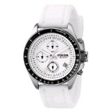 Fossil Men's CH2587 White Silicone Strap White Analog Dial Chronograph Watch (Watch)By Fossil