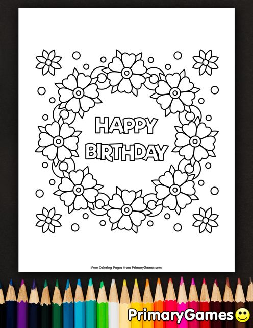 Happy Birthday Flower Wreath Coloring Page Free
