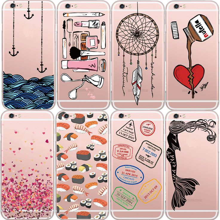 Clear Sushi Case Coque For iPhone 6 6S 7 6Plus 5S SE Romantic Dream catcher Mermaid Love Ultra Thin Heart Back Cover Funda Gel(China (Mainland))